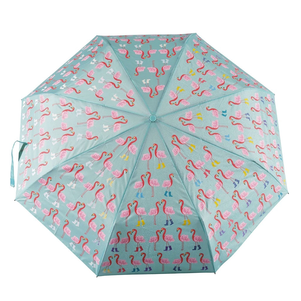 Floss & Rock | Colour Change Fold Up Umbrella - Flamingos