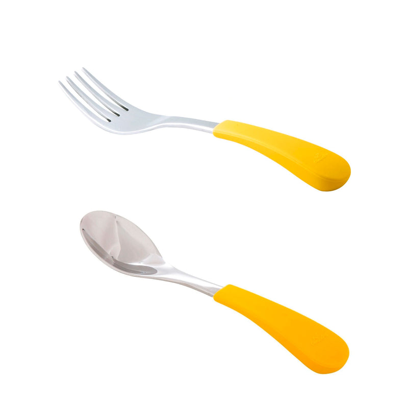 Avanchy | Stainless Steel & Silicone Spoon and Fork Set - Yellow