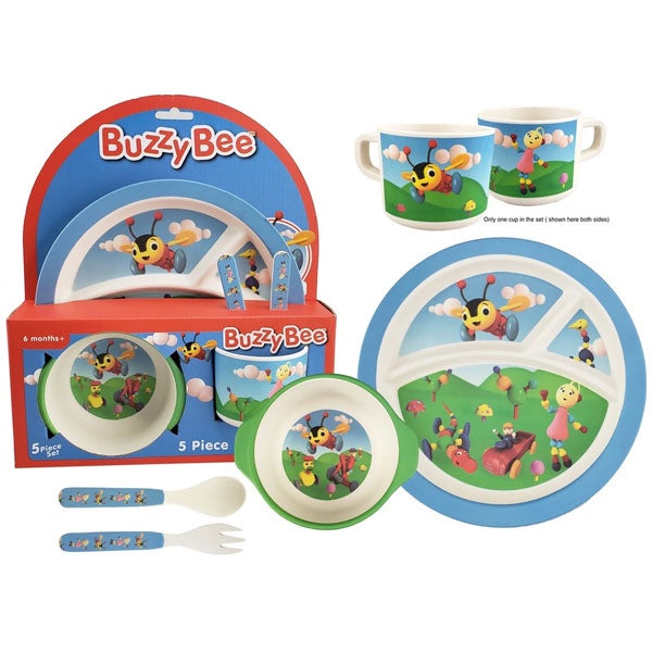 Buzzy Bee | 5 Piece Bamboo Plate Set