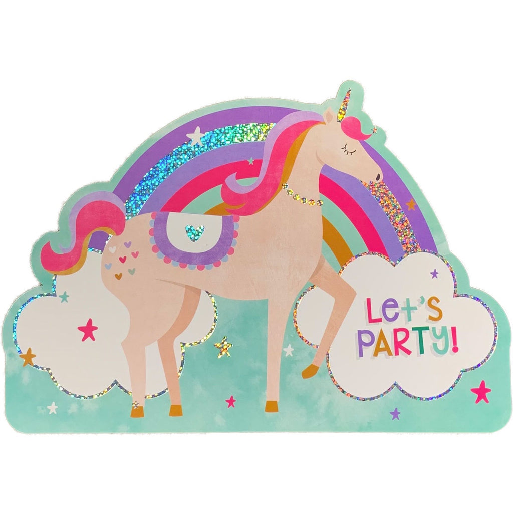 Birthday Invitations | Unicorn Rainbow Cutout