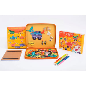 Mier Edu | Puzzle and Draw Magnetic Kit - Diggeresaurs