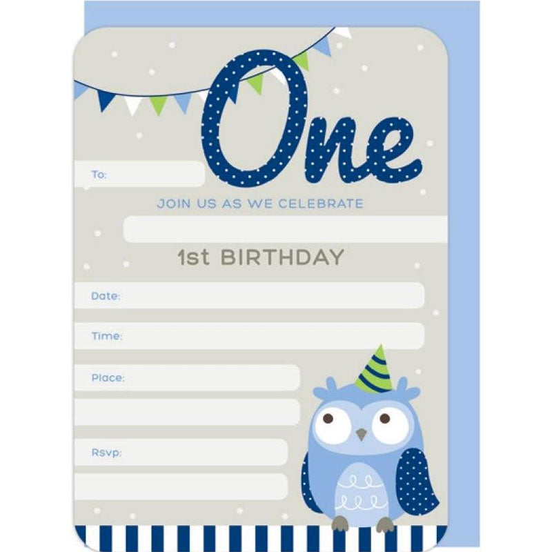 Invitations | First Birthday Owl - Blue