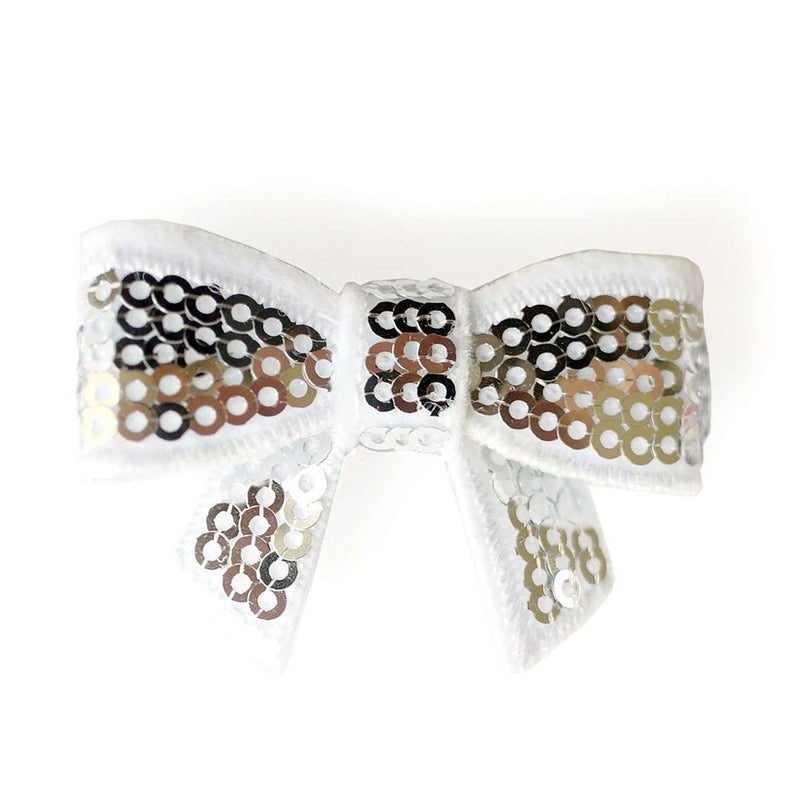 Lauren Hinkley | Sequin Bow Clip - White