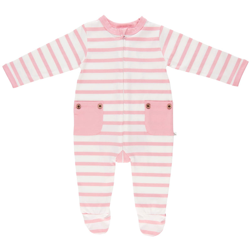 Lil Zippers | Long Sleeved Zip Romper - Dusky Pink Stripe