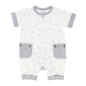 Lil Zippers | Short Sleeve Zip Romper - Grey Sea Star