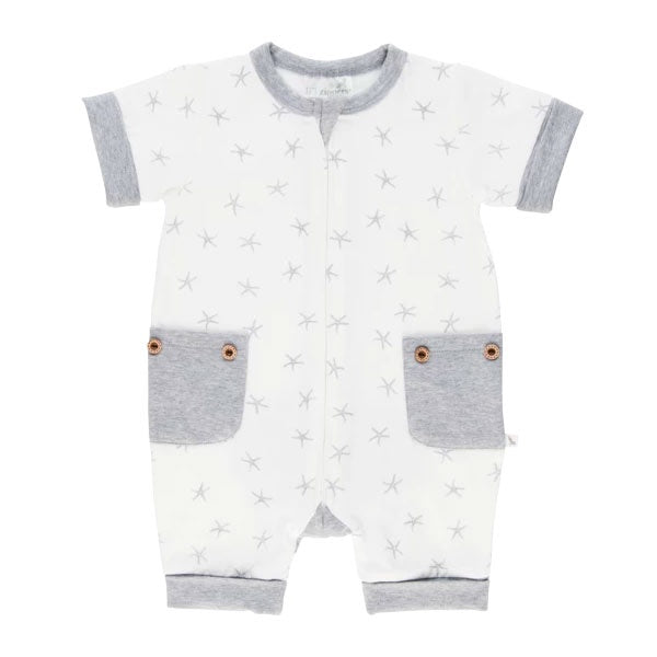 Li'l Zippers | Short Romper - Grey Sea Star