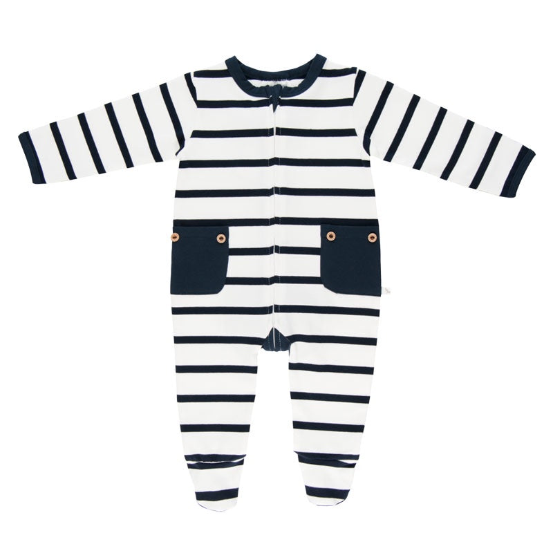Lil Zippers | Long Sleeve Zip Romper - Navy Stripe