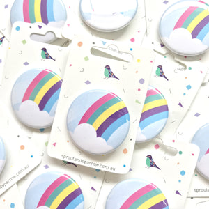 Sprout & Sparrrow | Button Badge - Rainbow