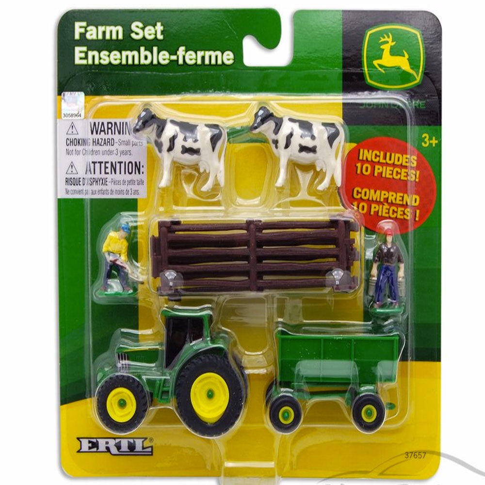John Deere | 10 Piece Farm Set - Cows with Brown Fence