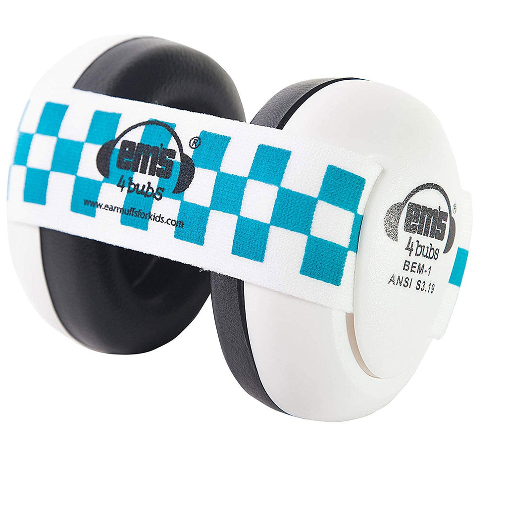 EMs | Baby Earmuffs - White with Blue Checkered Band