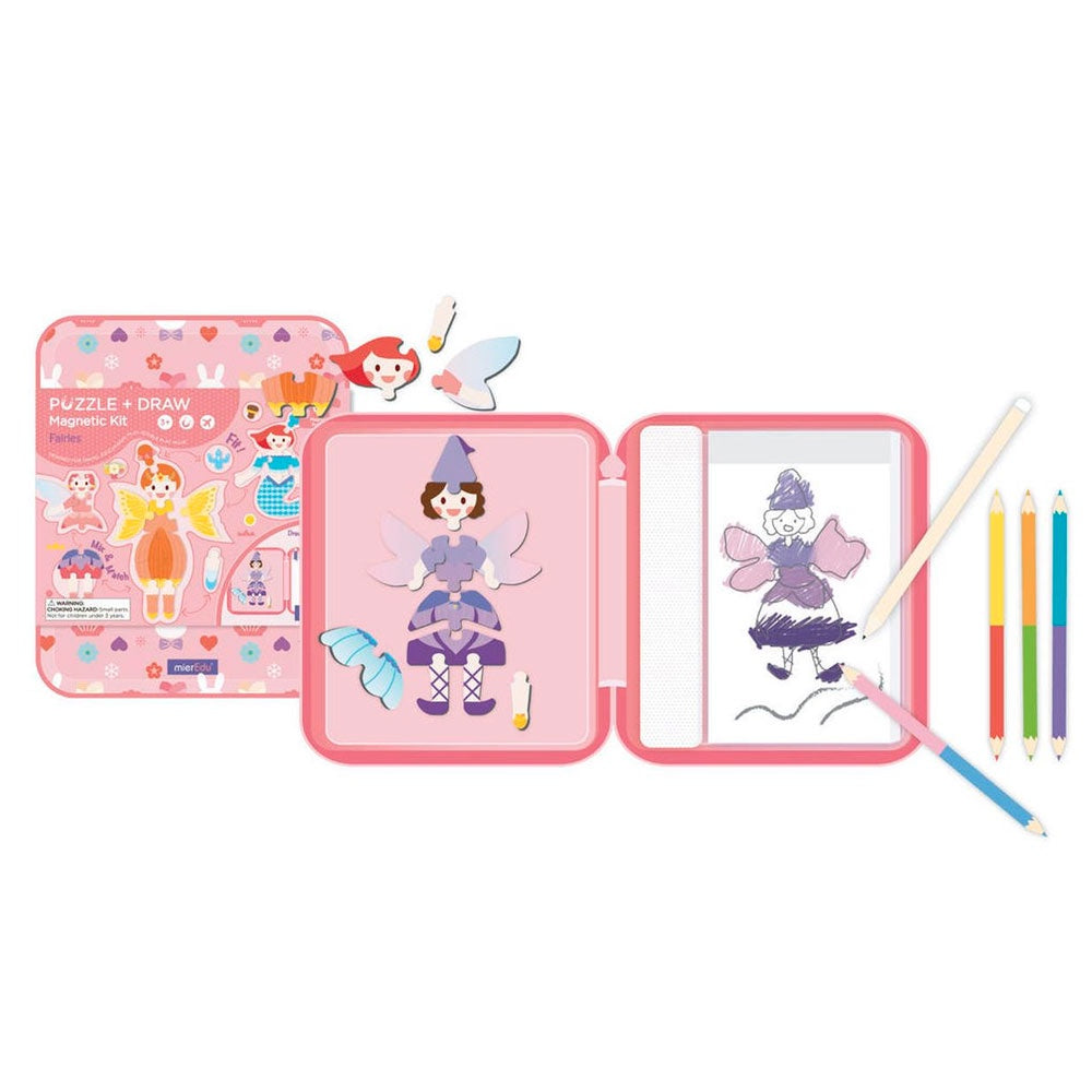 Mier Edu | Puzzle and Draw Magnetic Kit - Fairies