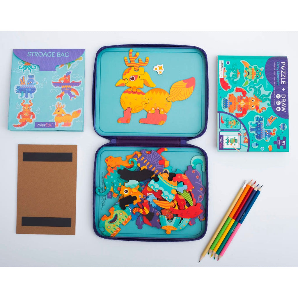 Mier Edu | Puzzle and Draw Magnetic Kit - Crazy Monsters