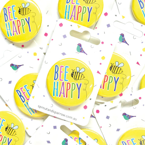 Sprout & Sparrrow | Button Badge - Bee Happy