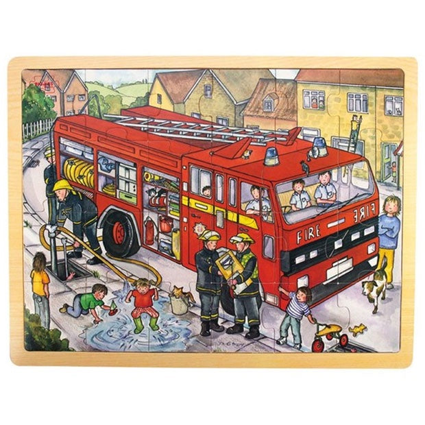 Big Jigs | 24 Piece Wooden Puzzle Tray - Fire Engine