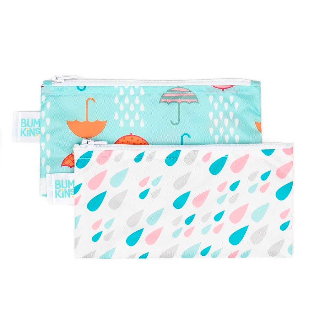 Bumkins | Small Snack Bag 2 Pack - Raindrops & Umbrella