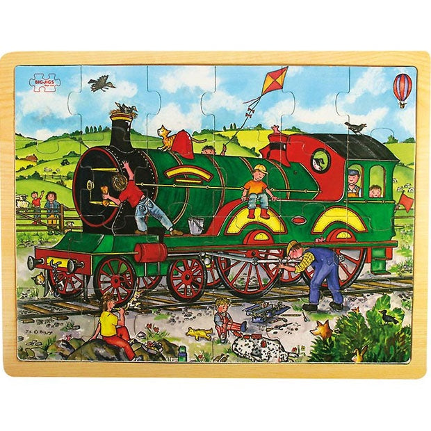 Big Jigs | 24 Piece Wooden Puzzle Tray - Train