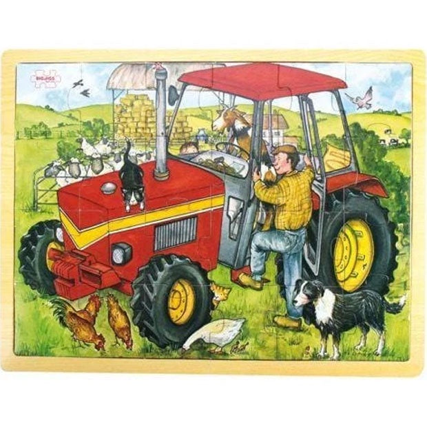 Big Jigs | 24 Piece Wooden Puzzle Tray - Tractor