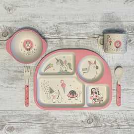 Eco | 5 Piece Bamboo Plate Set - Unicorn