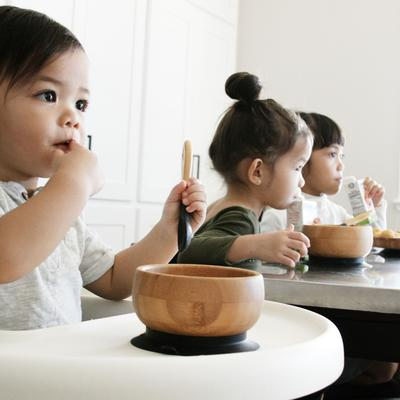 Avanchy | Bamboo Baby Suction Bowl with Spoon - Black