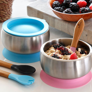 Avanchy | Stainless Steel Baby Bowl with Airtight Lid - Blue