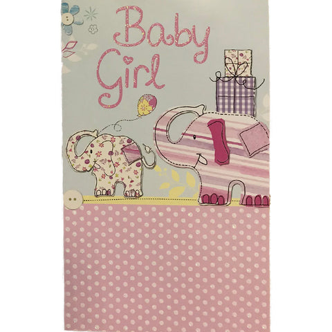 New Baby Card | Baby Girl Elephants