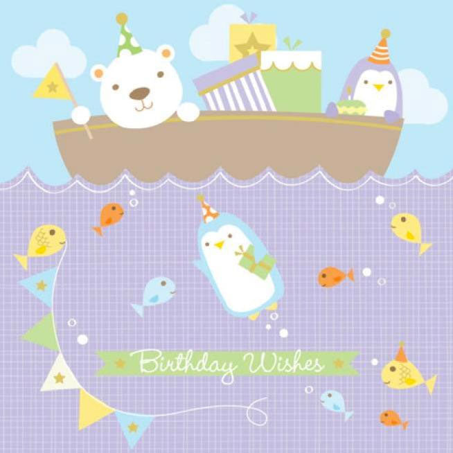 Birthday Card | Polar Bear & Penguin