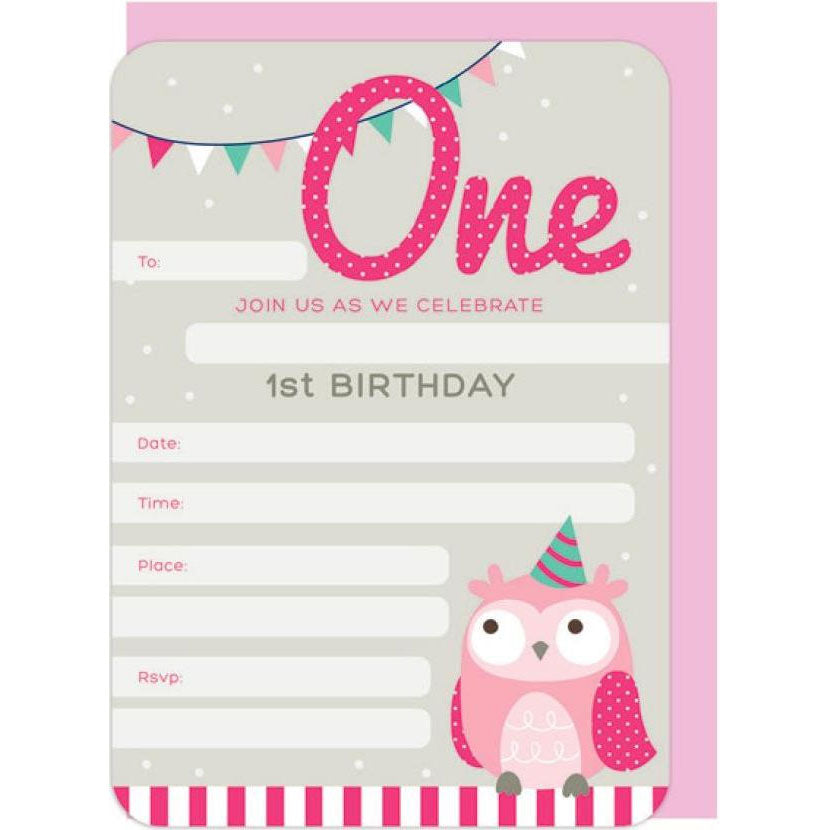 Invitations | First Birthday Owl - Pink