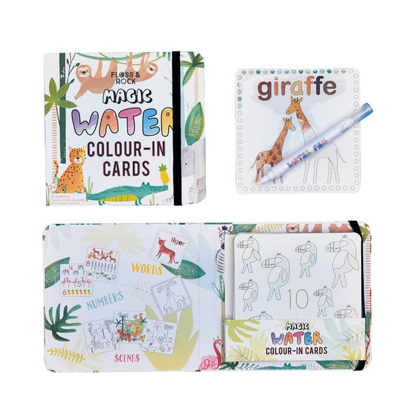 Floss & Rock | Magic Water Colour-In Cards - Jungle