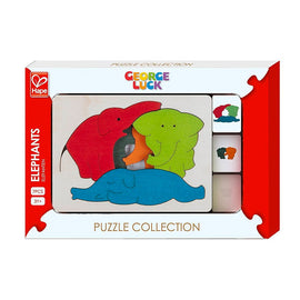 Hape | 7 Piece Wooden Layering Puzzle - Elephants