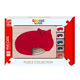 Hape | 6 Piece Wooden Layering Puzzle - Five Cats