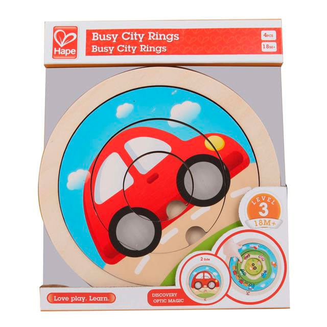 Hape | 4 Piece Wooden Spinning Puzzle - Transport