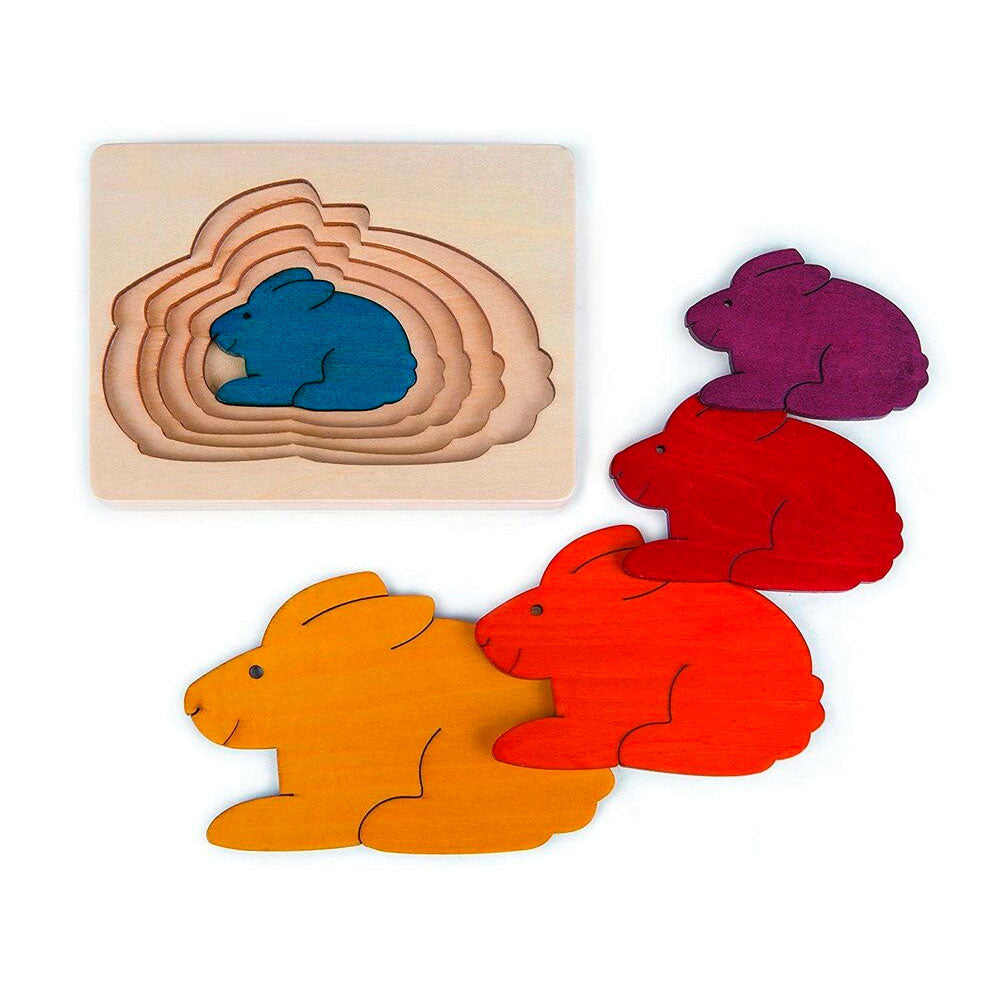 Hape | 6 Piece Wooden Layering Puzzle - Rabbits
