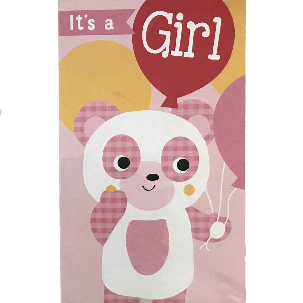 New Baby Card | It's A Girl - Pink Teddy