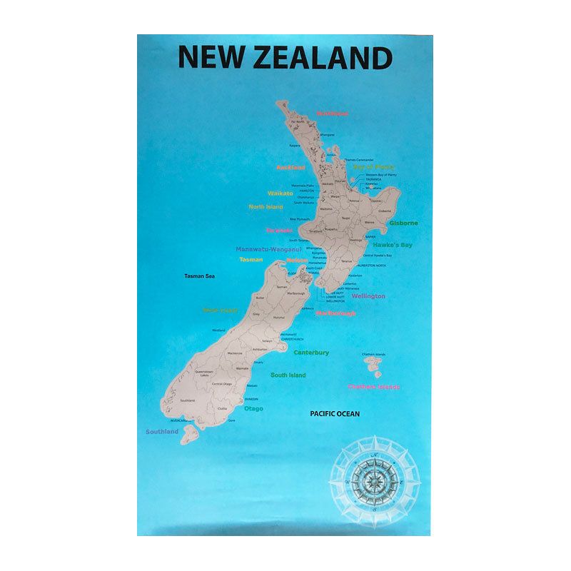 New Zealand Map For Scratching