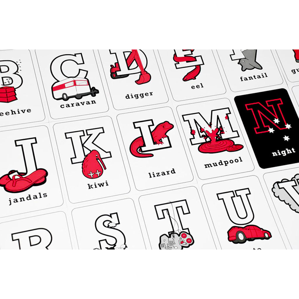 Nuzilla | ABC New Zealand Alphabet - Red & Black