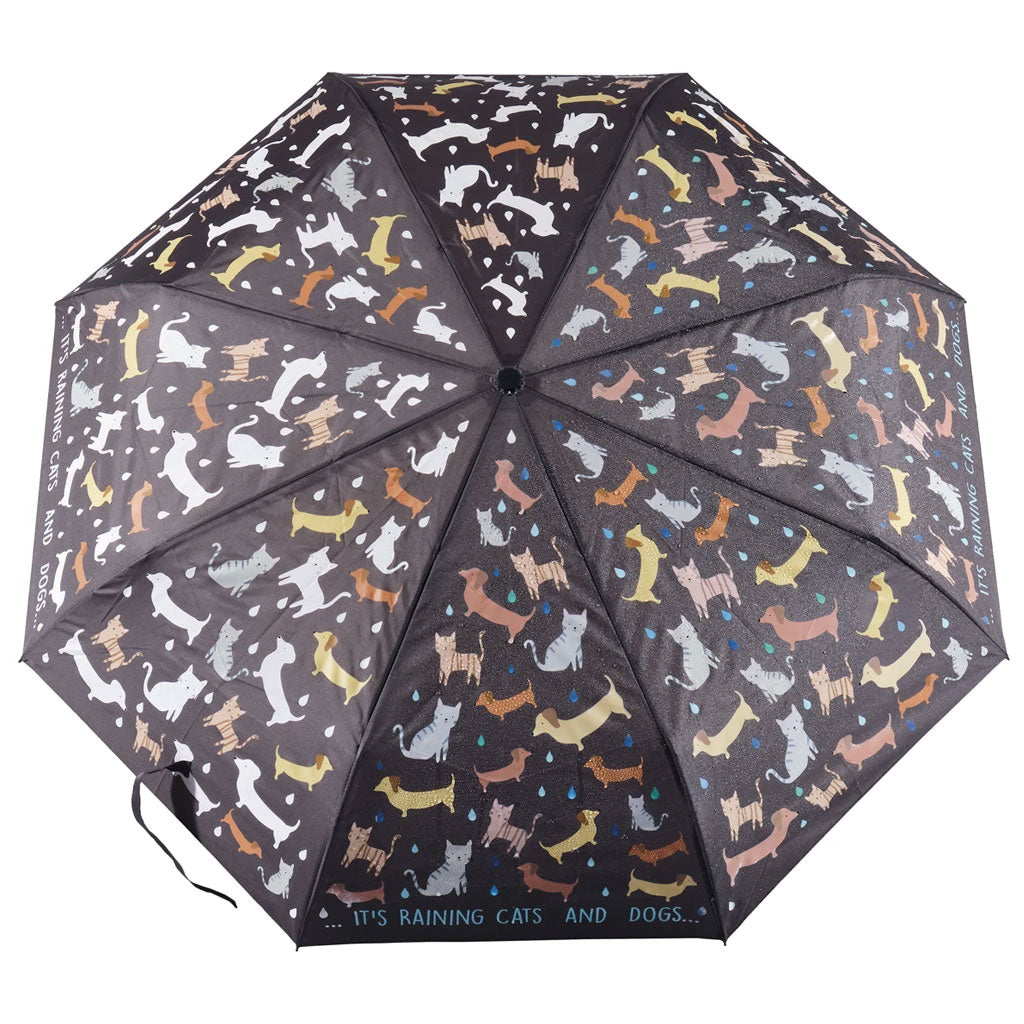 Floss & Rock | Colour Change Fold Up Umbrella - Cats & Dogs