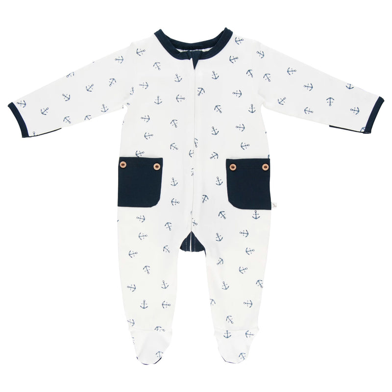 Lil Zippers | Long Sleeve Zip Romper - Navy Anchor