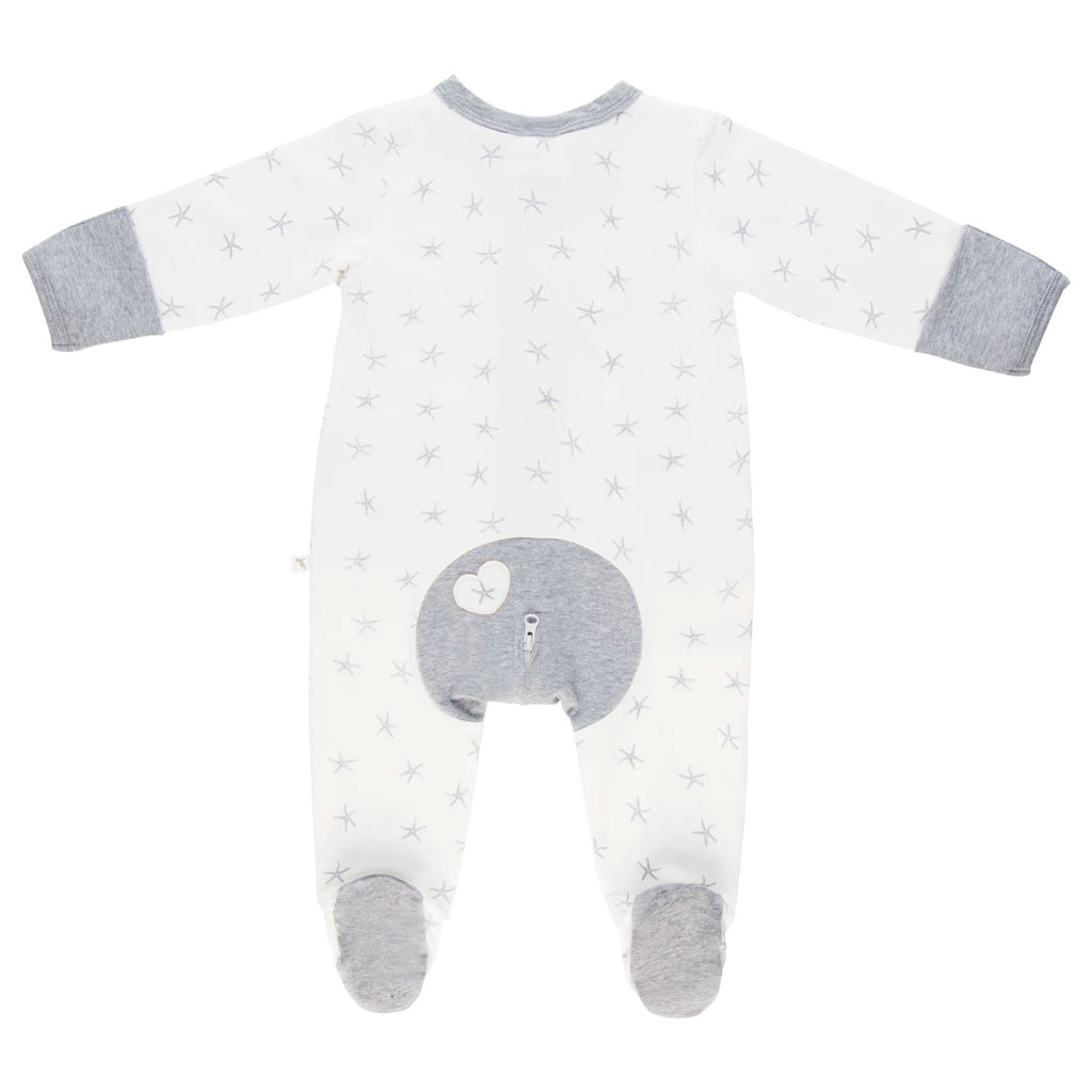 Li'l Zippers | Long Romper - Grey Sea Star