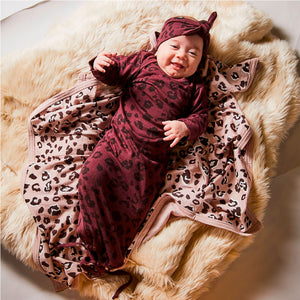 Little Flock Of Horrors | Newcomer Baby Gown - Mulberry Cheetah