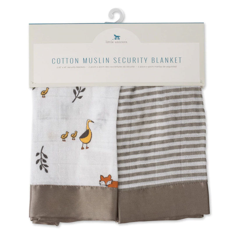 Little Unicorn | Muslin Security Blanket 2 Pack - Forest Friends and Stripe