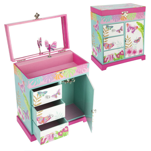 Pink Poppy | Musical Jewellery Box large - Tropical Butterfly