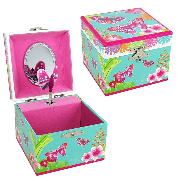 Pink Poppy | Musical Jewellery Box Small - Tropical Butterfly