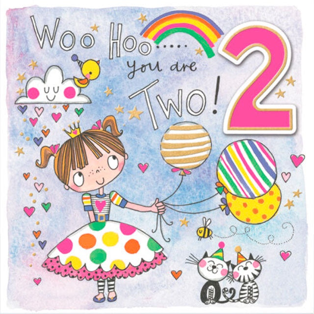 Rachel Ellen Designs | Birthday Card - Woo Hoo You Are Two - Girl with Balloons