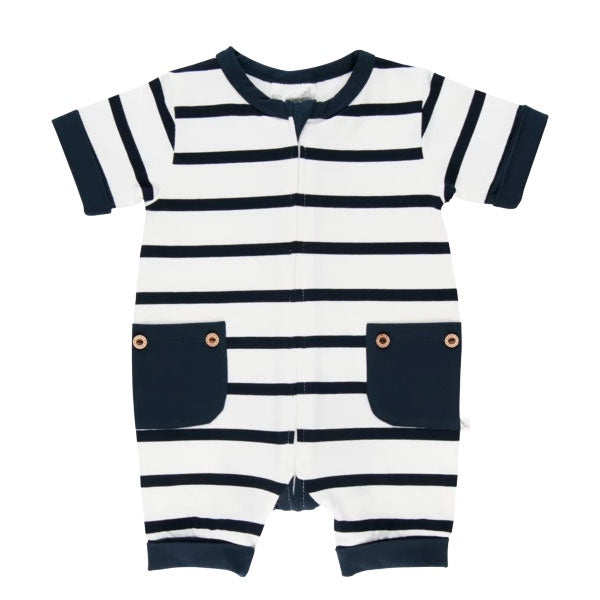 Lil Zippers | Short Sleeve Zip Romper - Navy Stripe