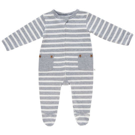 Lil Zippers | Two Way Zip Romper - Grey Stripe
