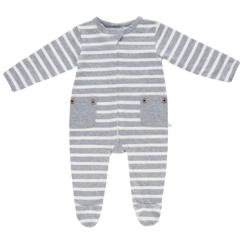 Lil Zippers | Long Sleeve Zip Romper - Grey Stripe