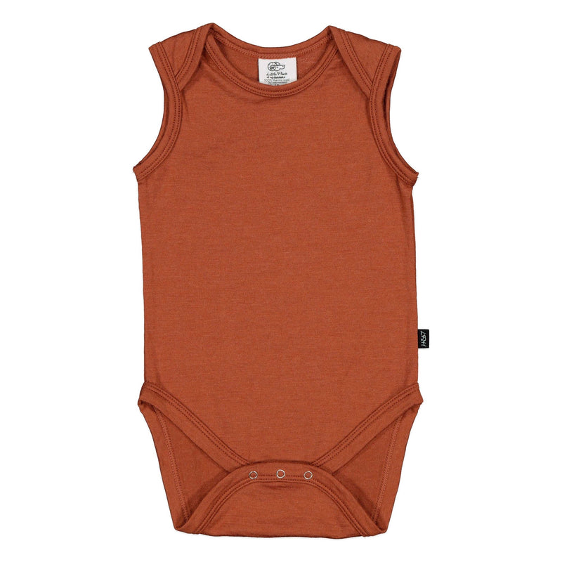 Little Flock Of Horrors | Hadley Sleeveles Bodysuit - Russet