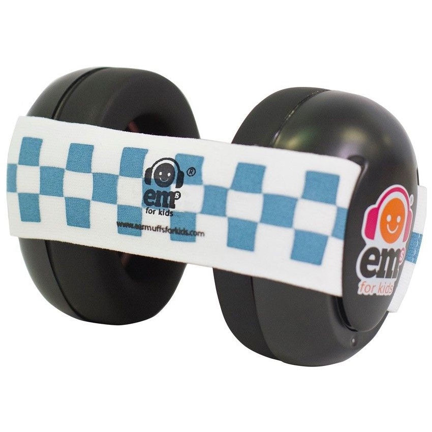 EMs | Baby Earmuffs - Black with Blue Checkered Band