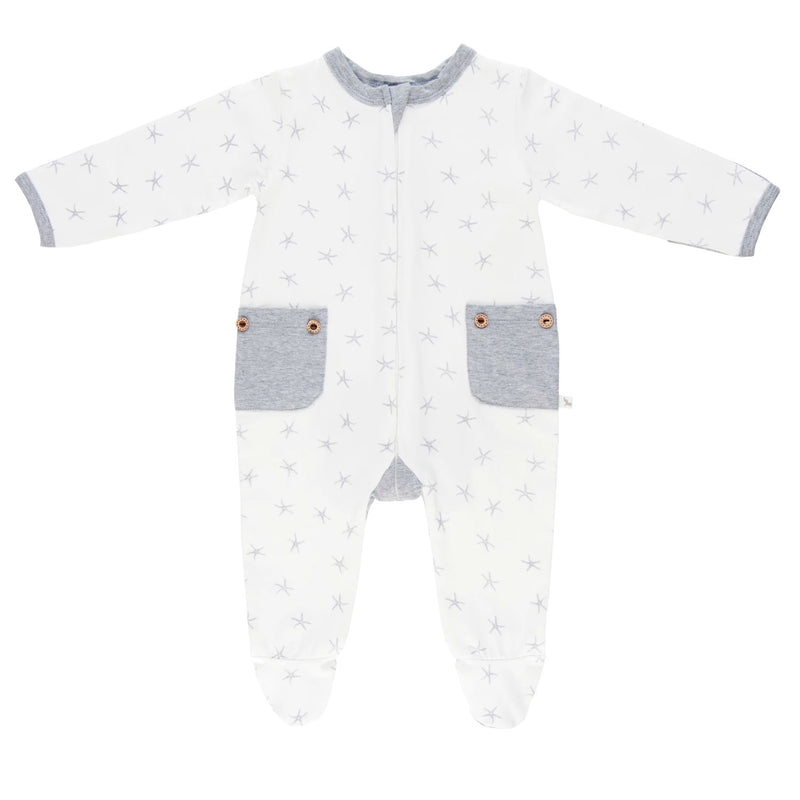 Lil Zippers | Long Sleeved Zip Romper - Grey Sea Star