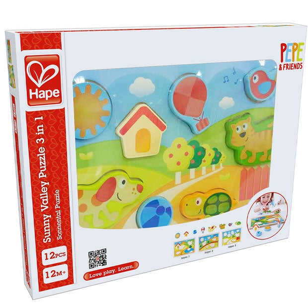 Hape | Sunny Valley Puzzle 3 in 1